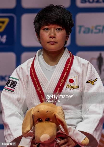 Under 48kg gold medallist Funa Tonaki of Japan during the 2017 Suzuki World Judo Championships at the Laszlo Papp Sports Arena on August 28 2017 in...