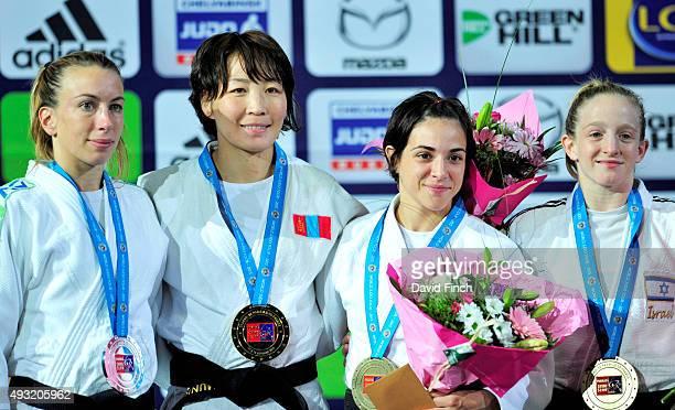 Under 48kg medallists L-R: Silver; Charline Van Snick , Gold; Urantsetseg Munkhbat , Bronzes; Julia Figueroa and Shira Rishony during the 2015 Paris...