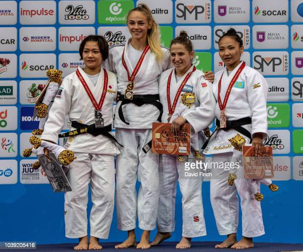 Under 48kg medallists LR Silver Funa Tonaki Gold Daria Bilodid Bronzes Paula Pareto and Otgontsetseg Galbadrakh during day one of the 2018 Judo World...