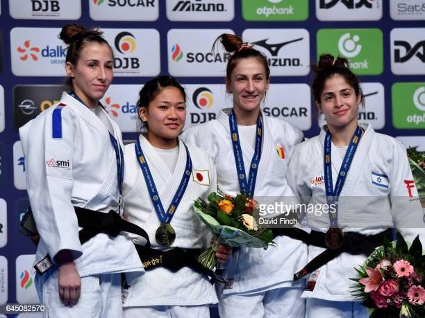 Under 48kg medallists LR Silver Melanie Clement of France Gold Funa Tonaki of Japan Bronzes Monica Ungureanu of Romania and Noa Minsker of Israel...
