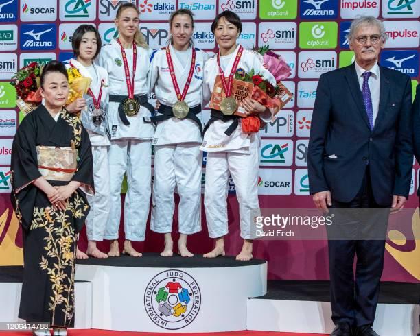 Under 48kg medallists L-R: Silver; Wakana Koga , Gold; Daria Bilodid , Bronzes; Melanie Clement and Urantsetseg Munkhbat during the 2020 Paris Judo...