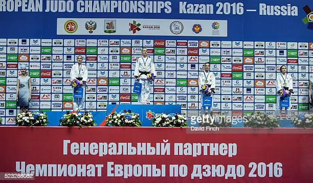 Under 48kg medallists Silver: Eva Csernoviczki of Hungary, Gold: Charline Van Snick Belgium, Bronzes: Dilara Lokmanhekim of Turkey and Monica...