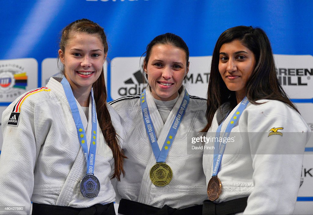 Silver; Mira Ulrich GER, Gold; Kimberley Renicks GBR, Bronze; Harkirat Sekhon GBR during the 2015 London European Cup July 11, 2015 at Wembley Arena, London, England, United Kingdom.