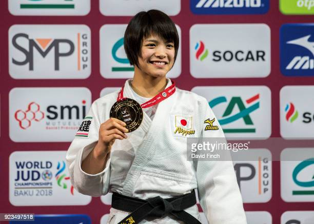 Under 52kg gold medallist Uta Abe of Japan during the 2018 Paris Grand Slam at the Accorhotels Arena on February 10 2018 in Bercy Paris France Abe's...