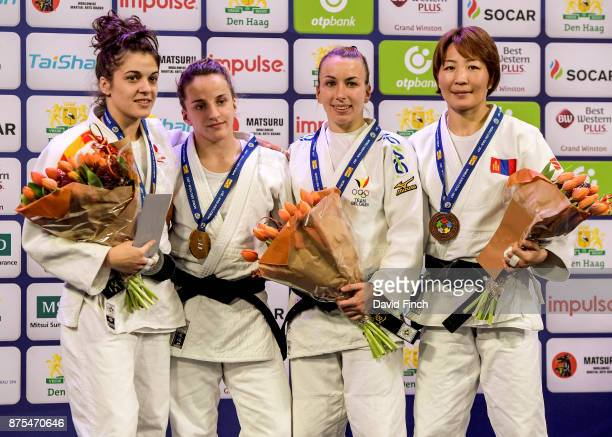 Under 52kg medallists L-R: Silver; Estrella Lopez Sheriff of Spain, Gold; Distria Krasniqi of Kosovo, Bronzes; Charline Van Snick of Belgium and...