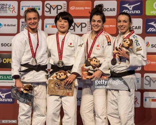 Under 52kg medallists L-R: Silver; Karolina Pienkowska , Gold; Ai Shishime , Bronzes; Estrella Lopez Sheriff and Charline Van Snick during the 2018...