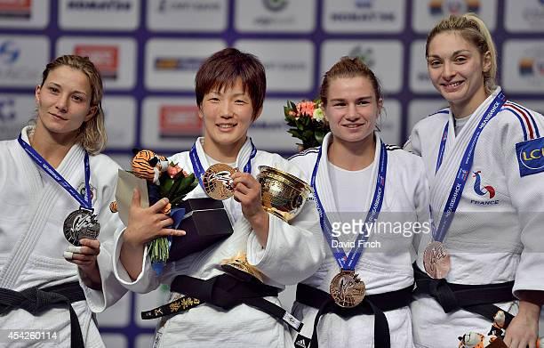Under 57kg medallists LR Silver Telma Monteiro of Portugal Gold Nae Udaka of Japan Bronzes Sanne Verhagen of Holland and Automne Pavia of France...