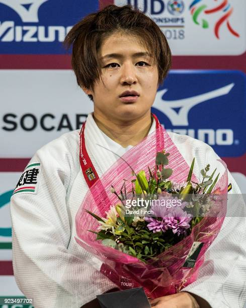 Under 57kg silver medallist Tsukasa Yoshida of Japan is not very happy after losing the final by an ippon during the 2018 Paris Grand Slam at the...