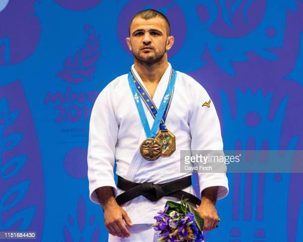 Under 60kg bronze medallist, Amiran Papinashvi of Georgia during day 2 of the 2019 Minsk European Games at the Chizhovka Arena, Minsk, Belarus, on...