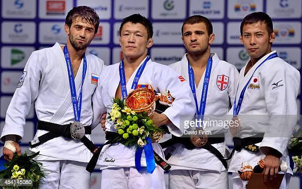 Under 60kg medallists L-R: Silver; Beslan Mudranov Russia, Gold; Boldbaatar Ganbat Mongolia, Bronze; Amiran Papinashvili Georgia and Naohisa Takato...
