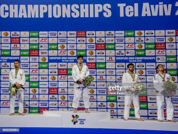 Under 60kg medallists LR Silver Yanislav Gerchev Gold Islam Yashuev Bronzes Beslan Mudranov and Ashley McKenzie during day one of the 2018 Tel Aviv...