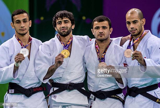 Under 60kg medallists Orkhan Safarov of Azerbaijan , Beslan Mudranov of Russia , Amiran Papinashvili of Georgia and Ludovic Chammartin of Switzerland...