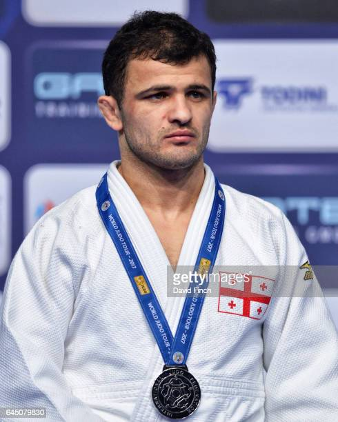 Under 60kg silver medallist, Amiran Papinashvili of Georgia, during the 2017 Dusseldorf Grand Prix at the Mitsubishi Electric Halle on February 24,...