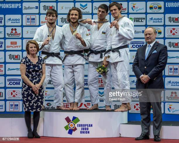 Under 63kg medallists LR Silver Musa Mogushkov Gold Hidayat Heydarov Bronzes Rustam Orujov and Tommy Macias during the 2017 Warsaw European Judo...