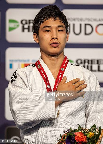 Under 66kg gold medallist Baul An of South Korea during the 2016 Dusseldorf Judo Grand Prix on Friday February 19 at the Mitsubishi Electric Halle...