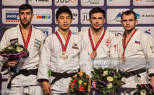 Under 66kg medallists LR Silver Golan Pollack of Israel Gold Baul An of South Korea Bronzes Vazha Margvelashvili of Georgia and Mikhail Pulyaev of...