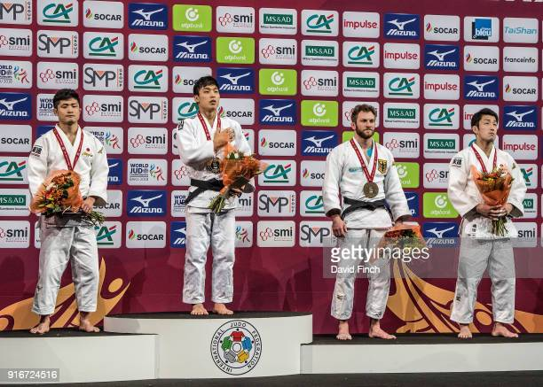 Under 66kg medallists LR Silver Joshiro Maruyama Gold Baul An Bronzes Sebastian Seidl and Norihito Isoda during the 2018 Paris Grand Slam at the...