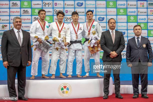 Under 66kg medallists LR Silver Yerlan Serikzhanov Gold Hifumi Abe Bronzes Baul An and Georgii Zantaraia The medals were presented by Azad Rahimov...