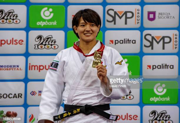 Under 70kg gold medallist Chizuru Arai of Japan during day five of the 2018 Judo World Championships at the National Gymnastics Arena on September 24...
