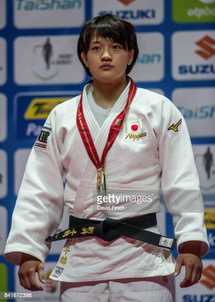 Under 70kg gold medallist Chizuru Arai of Japan during the 2017 Suzuki World Judo Championships at the Laszlo Papp Sports Arena on September 1 2017...