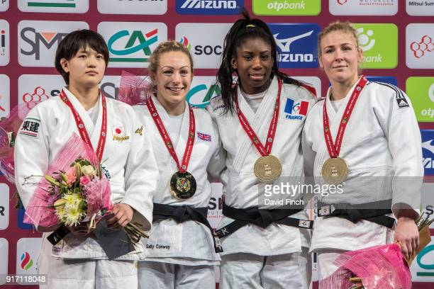 Under 70kg medallists LR Silver Chizuru Arai of Japan Gold Sally Conway of Great Britain Bronzes Marie Eve Gahie of France and Kim Polling of the...