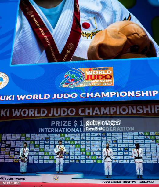 Under 70kg medallists LR Silver Maria Perez Gold Chizuru Arai Bronzes Yuri Alvear and Maria Bernabeu during the 2017 Suzuki World Judo Championships...