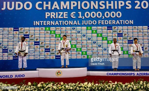 Under 70kg medallists Silver Marie Eve Gahie Gold Chizuru Arai Bronzes Yuri Alvear and Yuko Ono during day five of the 2018 Judo World Championships...