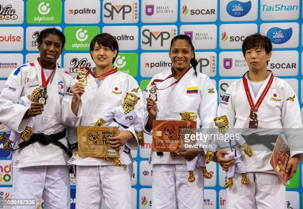 Under 70kg medallists Silver Marie Eve Gahie Gold Chizuru Arai Bronzes Yuri Alvear and Yuko Ono during day five of the 2018 Judo World Championships...