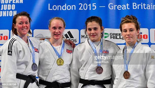 Under 70kg medallists Silver Megan Fletcher GBR Gold Gemma Howell GBR Bronzes Jemima YeatsBrown GBR and Emma Reid GBR during the 2015 London European...