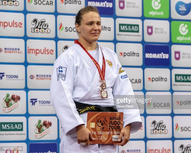 Under 78kg bronze medallist Aleksandra Babintseva of Russia during day six of the 2018 Judo World Championships at the National Gymnastics Arena on...