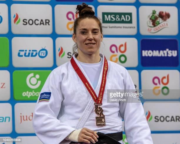 Under 78kg bronze medallist Marhinde Verkerk of the Netherlands during day six of the 2018 Judo World Championships at the National Gymnastics Arena...
