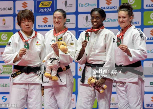 Under 78kg medallists LR Silver Mami Umeki Gold Mayra Aguiar Bronzes Kaliema Antomarchi and Natalie Powell during the 2017 Suzuki World Judo...