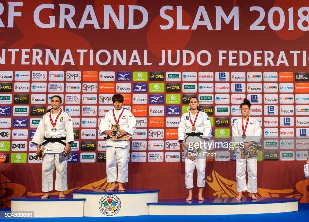 Under 78kg medallists Silver Mayra Aguiar Gold Ruika Sato Bronzes Klara Apotekar and Natalie Powell during the 2018 Dusseldorf Grand Slam at the ISS...
