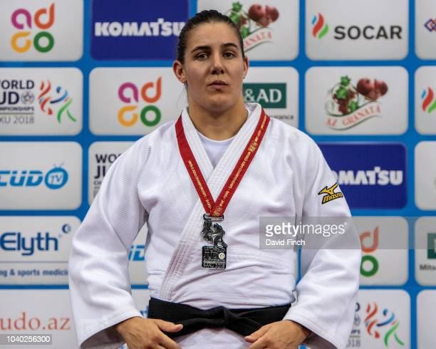 Under 78kg silver medallist Guusje Steenhuis of the Netherlands during day six of the 2018 Judo World Championships at the National Gymnastics Arena...