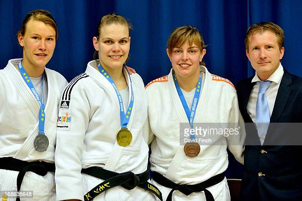 Under 78kgs medallists Silver Linda Boers Gold Iris Lemmen Bronze Martine Demkes along with the EJU's Media manager Hans van Essen of Holland who...