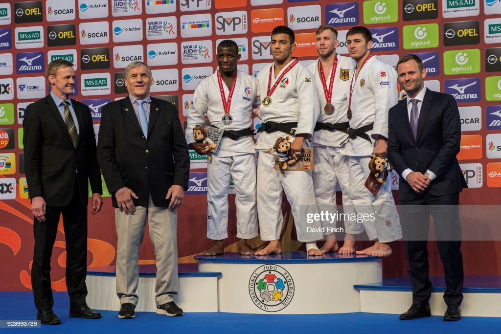 Under 81kg medallists (L-R) Silver; Alpha Oumar Djalo of France, Gold; Saeid Mollaei of Iran, Bronzes; Dominic Ressel of Germany and Aslan Lappinagov of Russia during the 2018 Dusseldorf Grand Slam (23-25 February) at the ISS Dome, Dusseldorf, Germany, on February 24, 2018. The medals were presented by (L-R) Mark Borchert (DJB Sports Director), Klaus Glahn (Double Olympic medallist 1964 and 1972) and Ole Bischoff (Olympic gold and silver medallist 2008 and 2012).