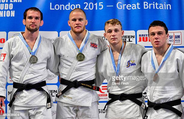 Under 81kg medallists Silver Tom Reed GBR Gold Owen Livesey GBR Bronzes Olle Mattsson SWE and Stuart McWatt GBR during the 2015 London European Cup...