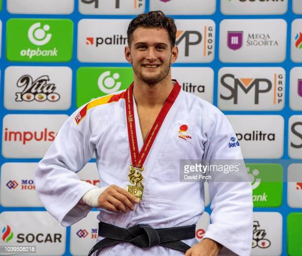 Under 90kg gold medallist Nikoloz Sherazadishvili of Spain during day five of the 2018 Judo World Championships at the National Gymnastics Arena on...