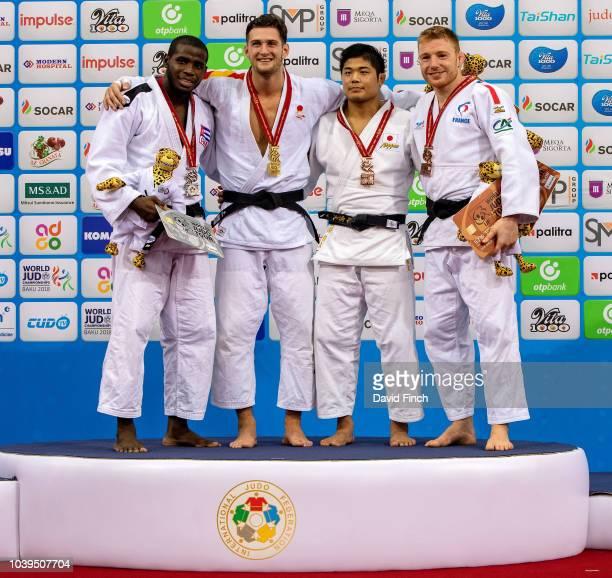 Under 90kg medallists LR Silver Ivan Felipe Silva Morales Gold Nikoloz Sherazadishvili Bronzes Kenta Nagasawa and Axel Clerget during day five of the...