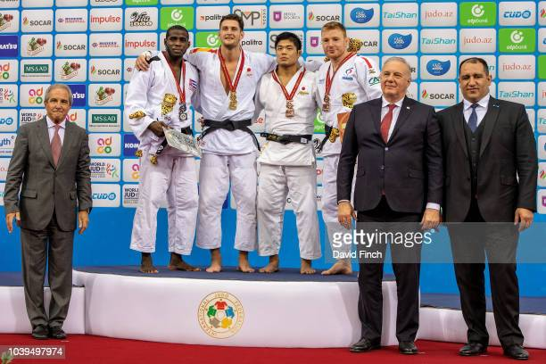 Under 90kg medallists Silver Ivan Felipe Silva Morales Gold Nikoloz Sherazadishvili Bronzes Kenta Nagasawa and Axel Clerget during day five of the...