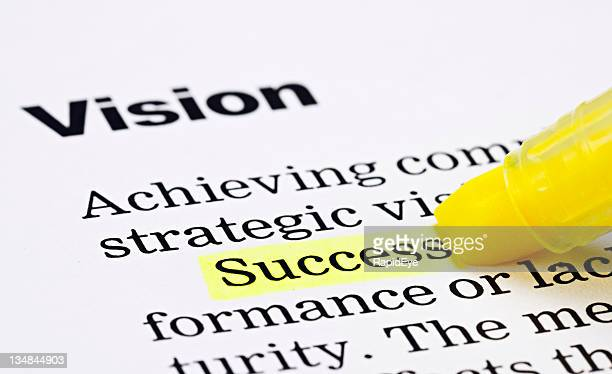 under a heading 'vision', the word 'success' is highlighted - highlights stock pictures, royalty-free photos & images