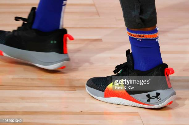 Under Armour Embiid One shoes worn by Joel Embiid of the Philadelphia 76ers against the Portland Trail Blazers at Visa Athletic Center at ESPN Wide...