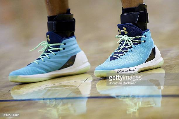 Under Armour shoes are seen worn by Stephen Curry of the Golden State Warriors during a game against the New Orleans Pelicans at the Smoothie King...