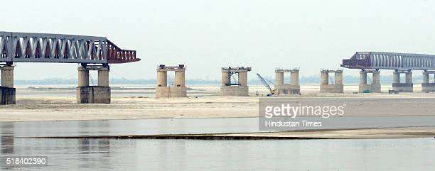 Under construction Bogibeel Bridge on March 31 2016 in Dibrugarh India The Bogibeel Bridge the longest railcumroad bridge of the country that will be...