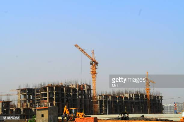 Under construction building of Gaur City at sector 4 in Noida Extension