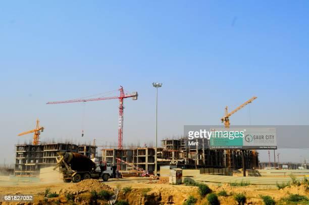 Under construction building of Gaur City sector 4 Noida Extension