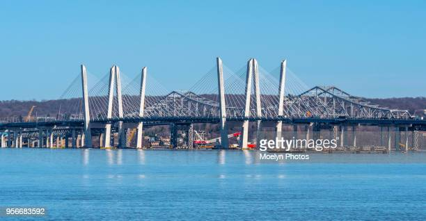 under construction - old and new tappan zee bridge - tarrytown stock photos and pictures