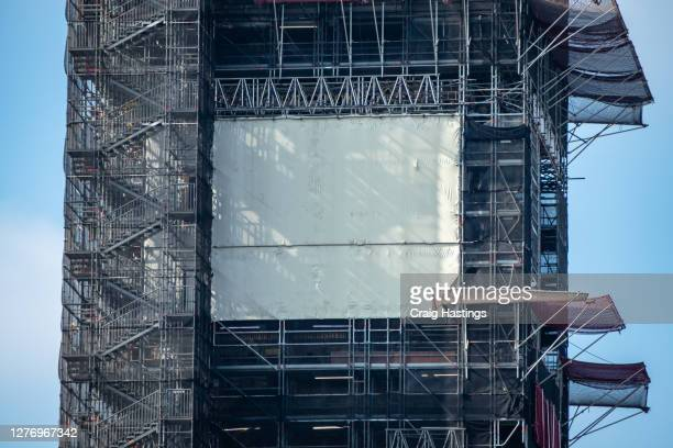 under construction the face of the clock in the elizabeth tower, better known as big ben in london uk - former stock pictures, royalty-free photos & images