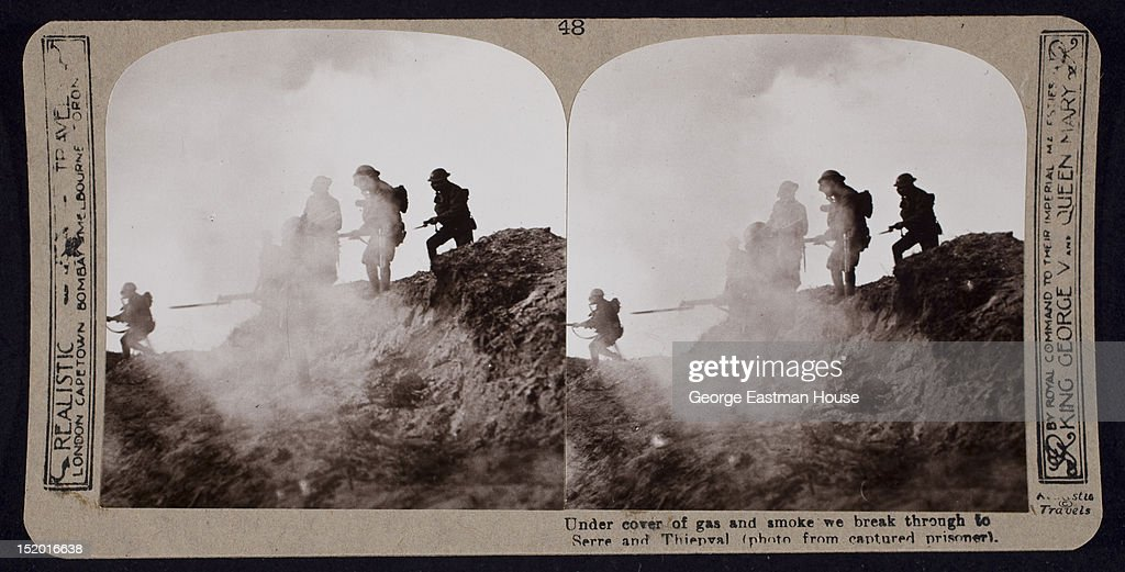 Under cover of gas and smoke we break through to Serre and Thiepval (photo from captured prisoner), 1916.