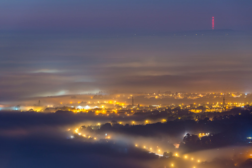 UK under fog, Greater Manchchester, Winter hill - gettyimageskorea